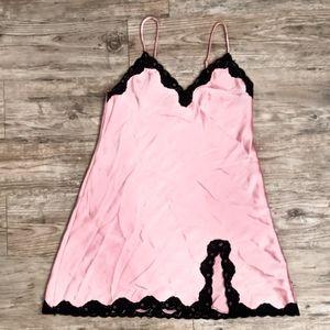 Rosey Pink & Black Lace Silky Satin Slip